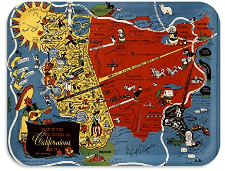 USA as Californians See it Map Tray / TV Dinner Tray, Decorative Tray, 17