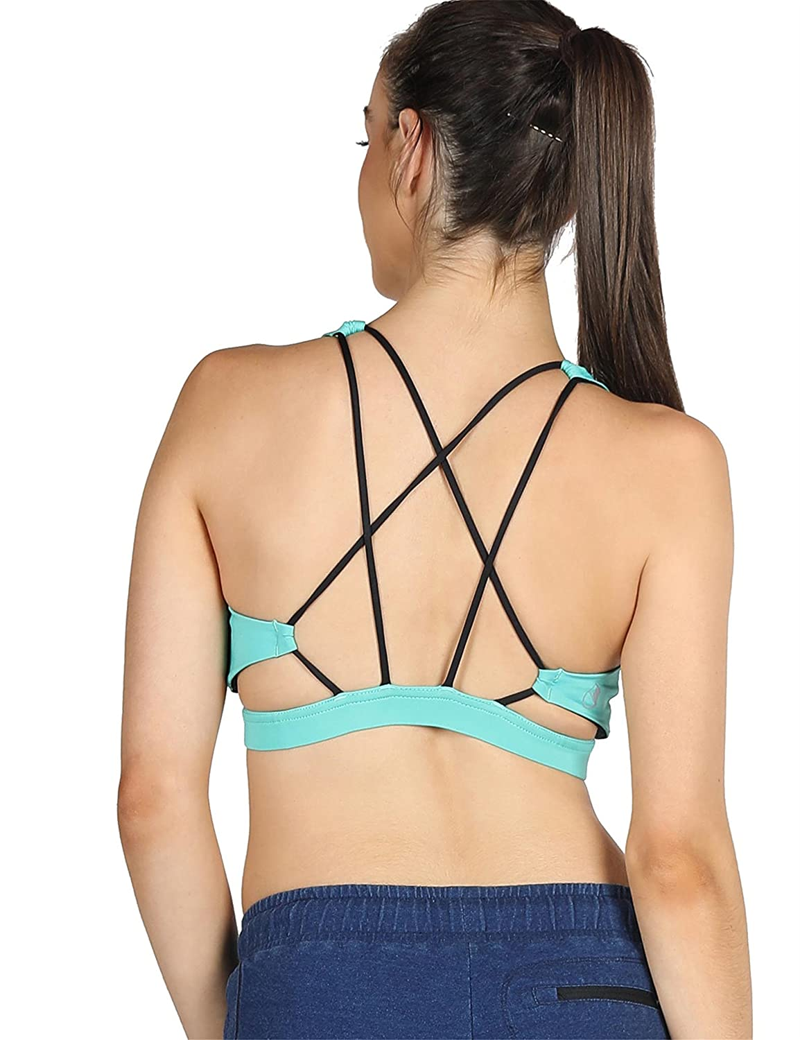 icyzone Sports Bra for Women - Women's Workout Clothes, Strappy Sports Bra, Yoga Tops, Exercise Tops