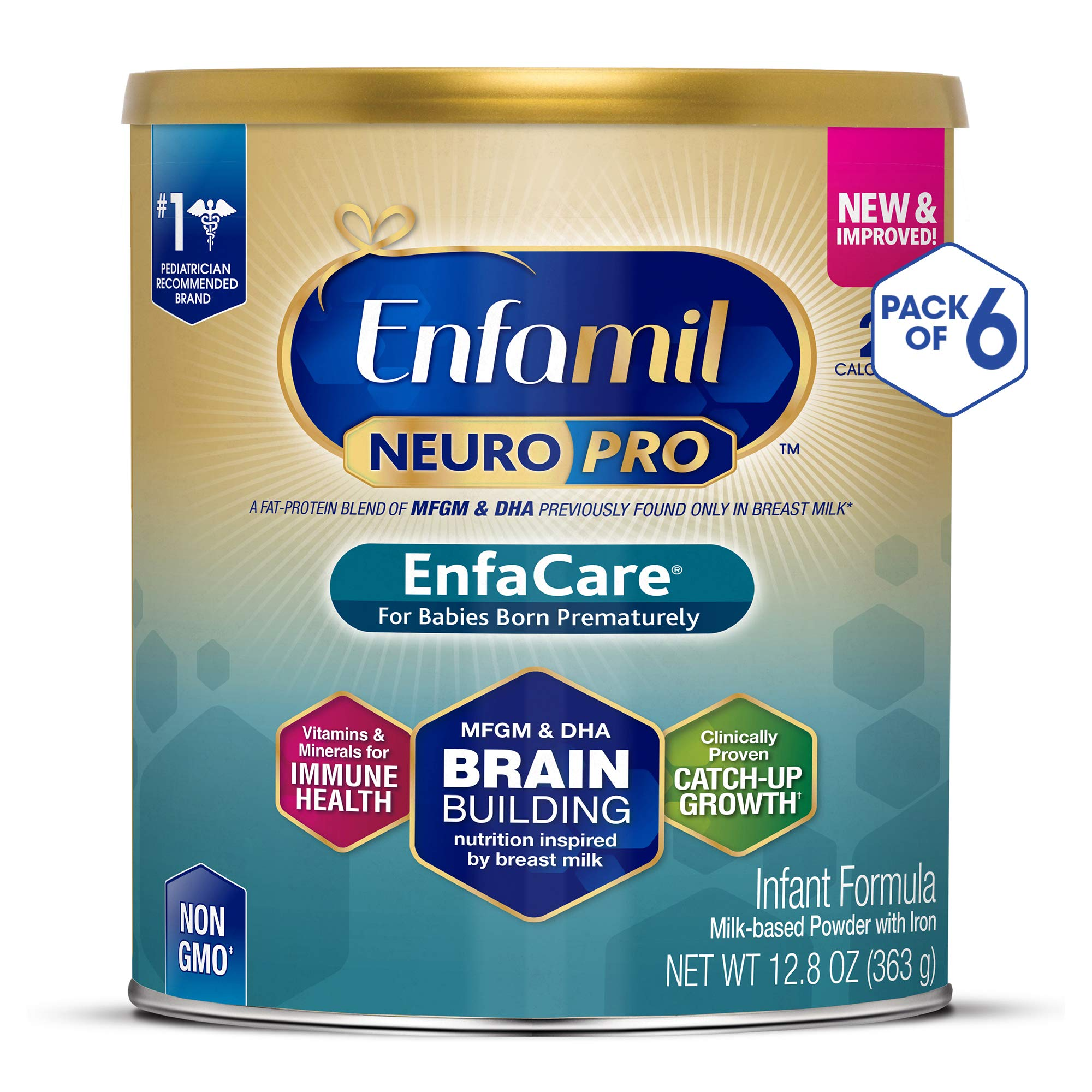 Enfamil NeuroPro EnfaCare Infant Formula - Brain Building Nutrition with Clinically Proven Growth Benefits for Premature Babies - Powder Can, 12.8 oz (Pack of 6) by Enfamil (Image #1)
