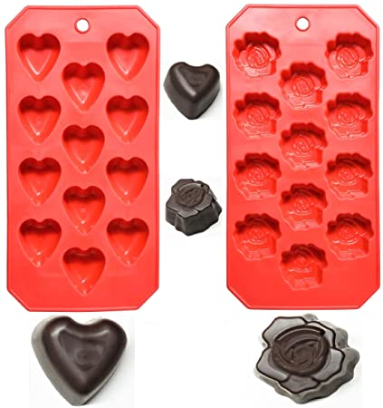 Buy Valentine S Day Hearts Roses Ice Cube Tray Chocolate Molds 4 Pack Reusable Flexible Silicone Candy Gelatin Gummy Shapes Jello Fat Bombs Treats Serve With Drinks