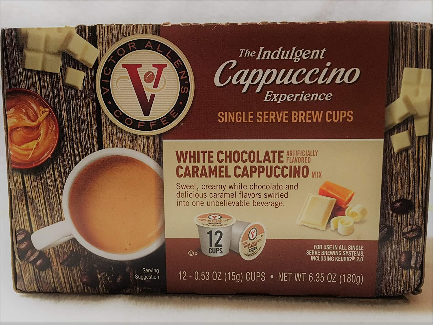 Victor Allen Indulgent White Chocolate Caramel Cappuccino Single Serve Cups - 12 Count