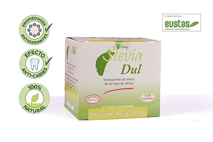 Stevia en sobres. Stevia natural en sobres individuales (60 sobres). Endulzante de mesa de la hoja de stevia. Stevia natural 100% española.