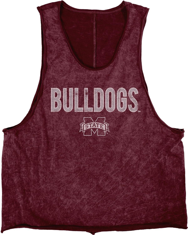 NCAAミシシッピ州ブルドッグ大人用レディースMineral WashマッスルTシャツ, Large , Maroon   B072YW9C86