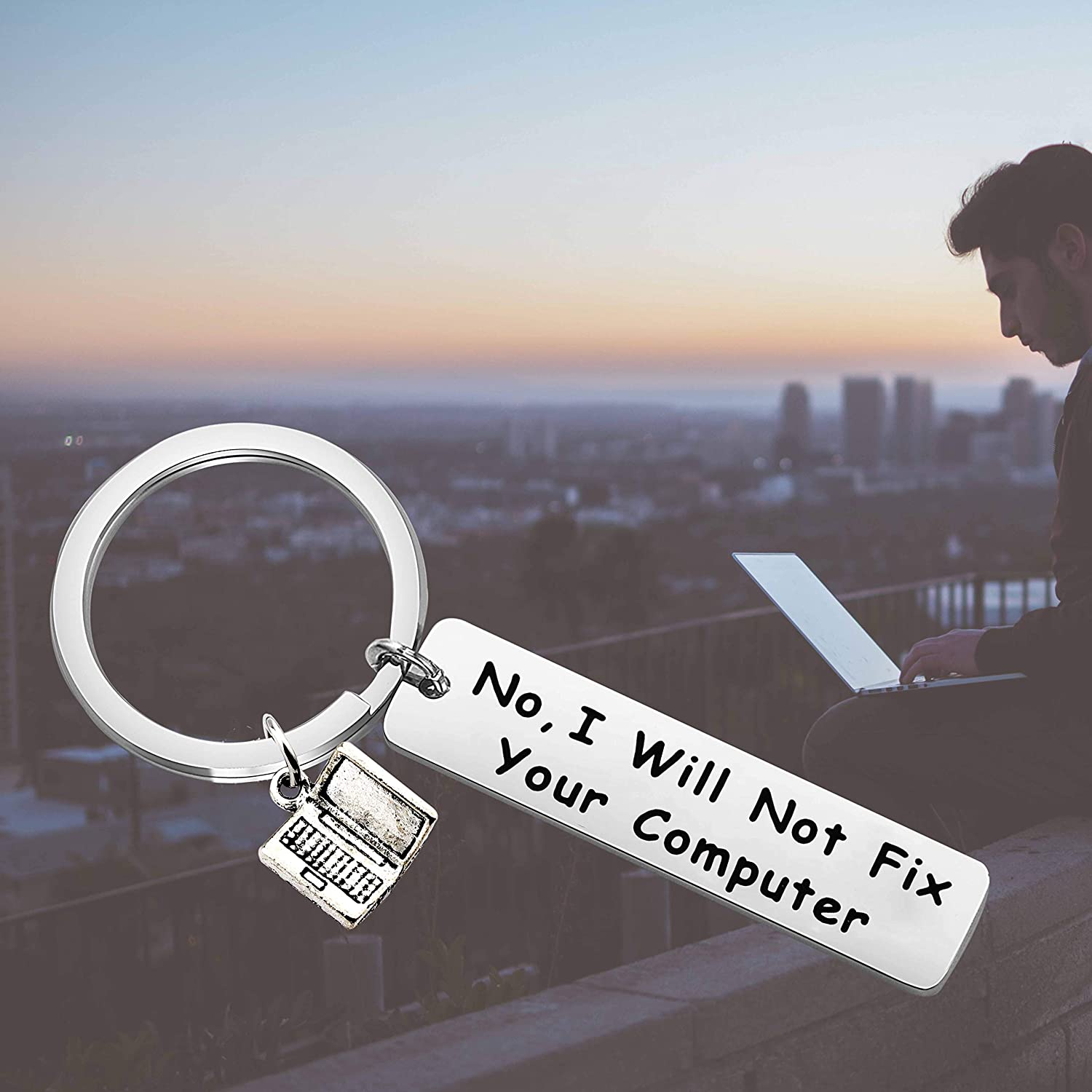 FUSTMW Computer Programmer Gift No I Will Not Fix Your Computer Keychain Geek Gift Computer Science Gift Technology Nerdy Gift IT Gift