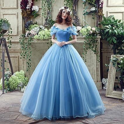 DRESS Versión Moderna de la Novia Vestido de Plataforma Cenicienta Vestido de Color Azul Vestido de