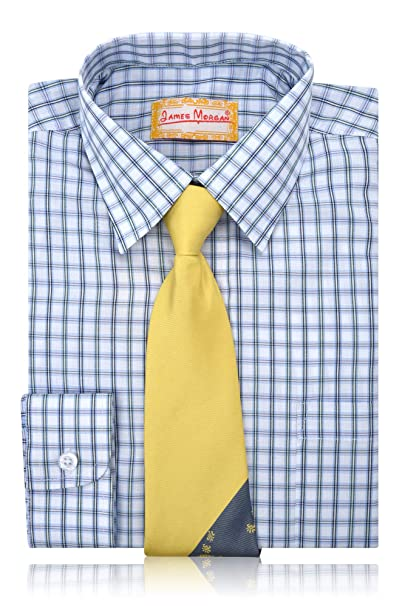 233996ca Amazon.com: JAMES MORGAN Boys Boxed Design Dress Shirt with Tie - Sizes  8-20: Clothing