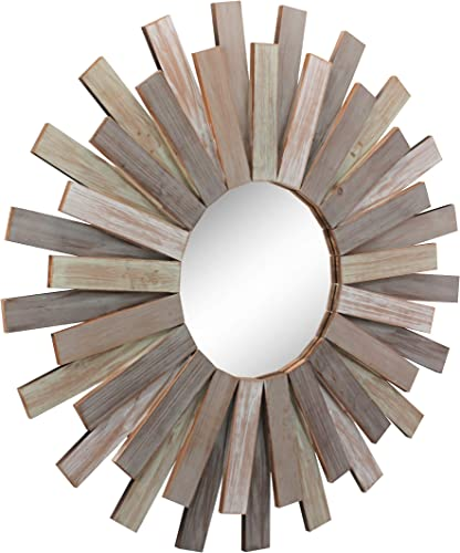 Stonebriar Large Round 32 Wooden Sunburst Hanging Wall Mirror with Attached Hanging Bracket, Decorative Rustic Decor for the Living Room, Bathroom, Bedroom, and Entryway