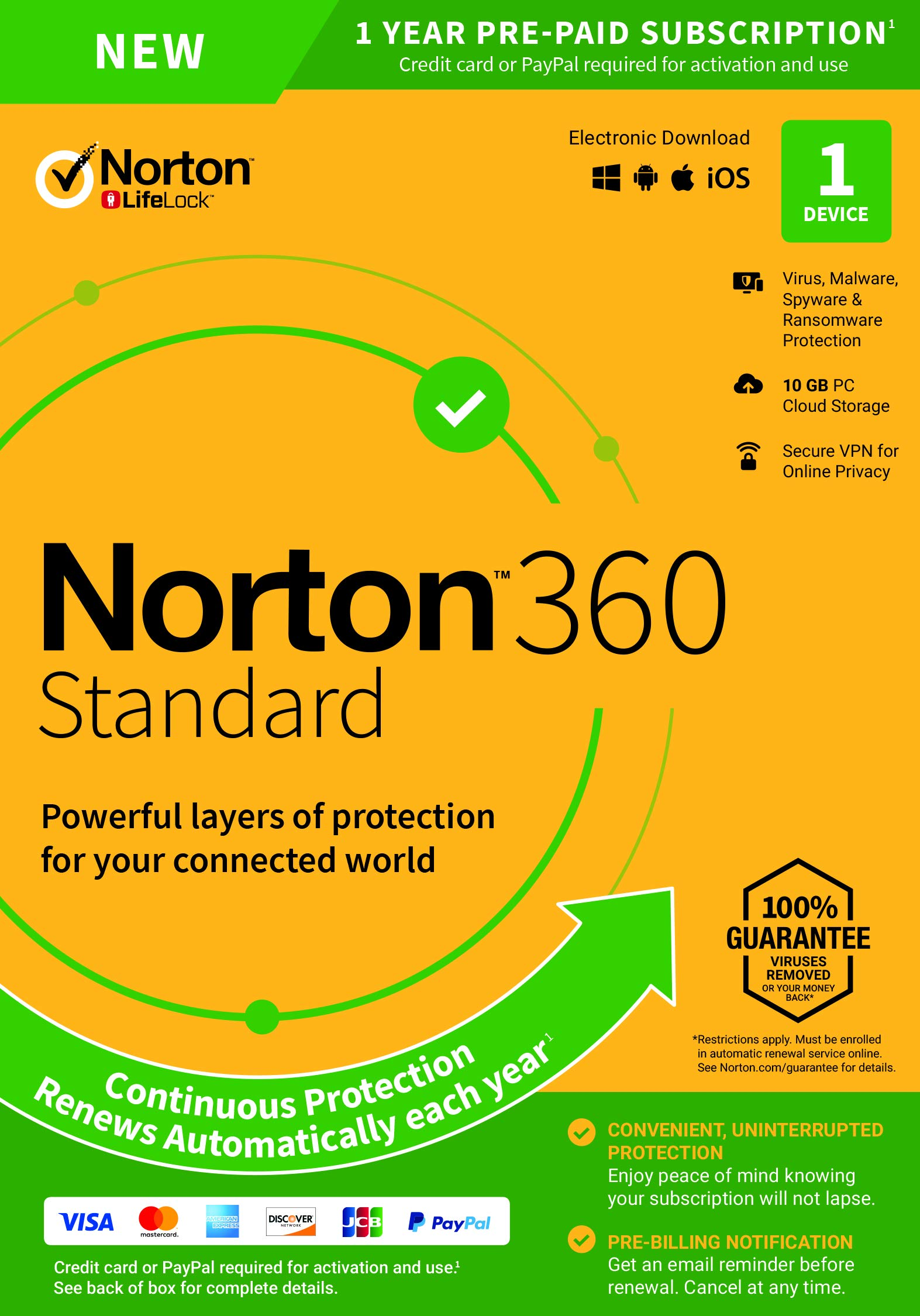 NEW Norton 360 Standard - Antivirus software for 1 Device with Auto Renewal - Includes VPN, PC  Cloud Backup & Dark Web Monitoring powered by LifeLock [PC/Mac/Mobile Key Card] by Symantec