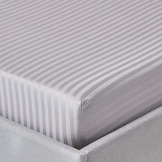 Homescapes Sábana bajera ajustable a rayas 100% algodón egipcio ...