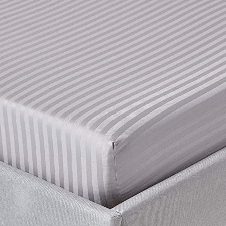 Homescapes Sábana bajera ajustable a rayas 100% algodón egipcio 330 hilos, gris, 140 x 190 cm: Amazon.es: Hogar