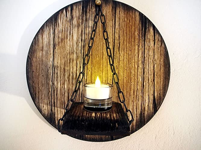 Custom Candle Sconce Inspired By Aged Wine And Whiskey Barrel Tops