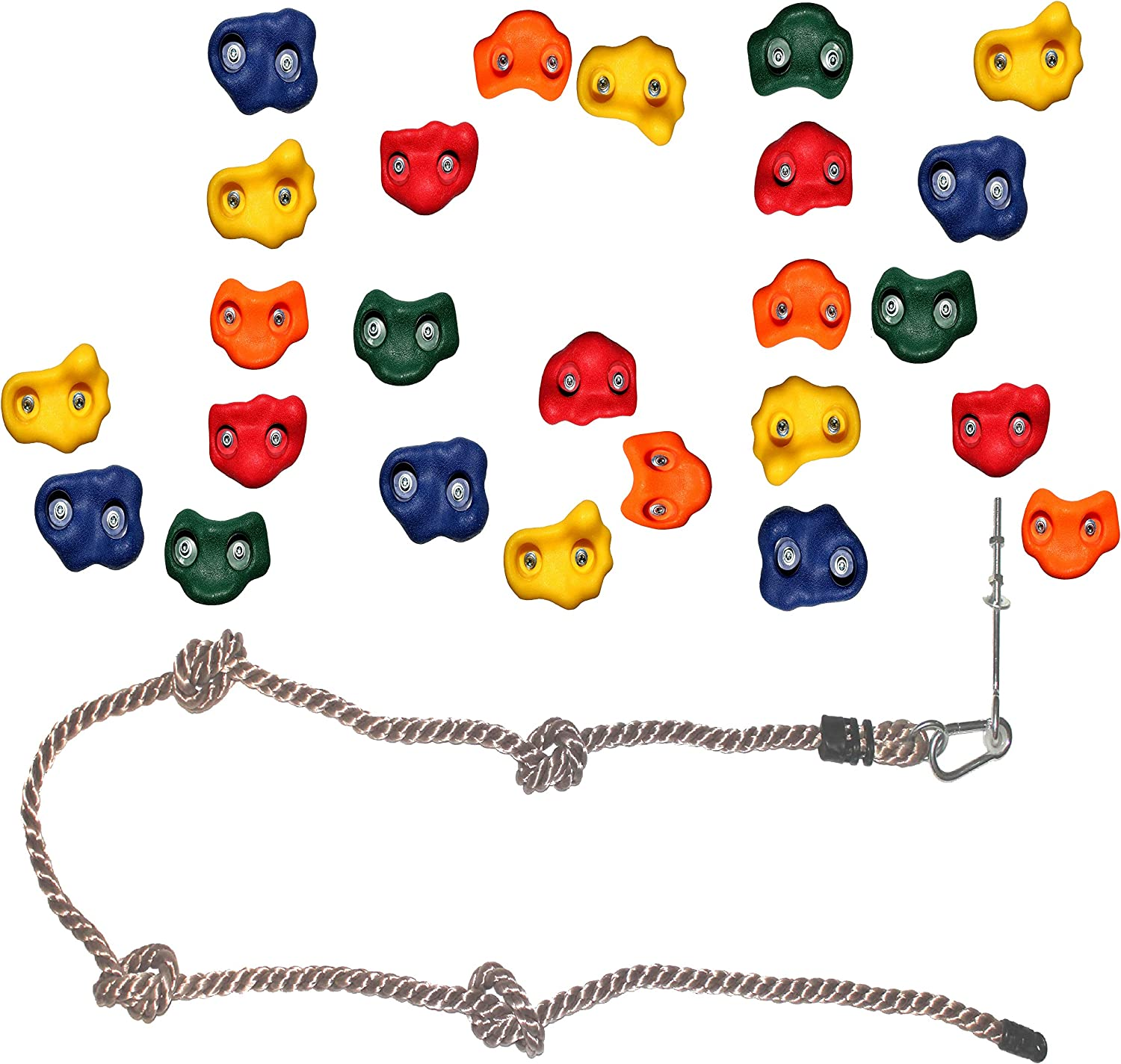 Jungle Gym Kingdom DIY 25 Rock Climbing Hand Holds with Robust 8 Foot Knotted Rope for Childrens Playground Wall Kids Indoor Outdoor Play Sets with Mounting Hardware