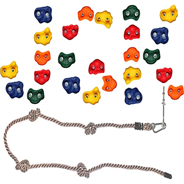 Jungle Gym Kingdom 25 Rock Climbing Holds with Robust 8 Foot Knotted Rope for DIY Childrens Playground Wall Kids Indoor Outdoor Play Sets with Mounting Hardware