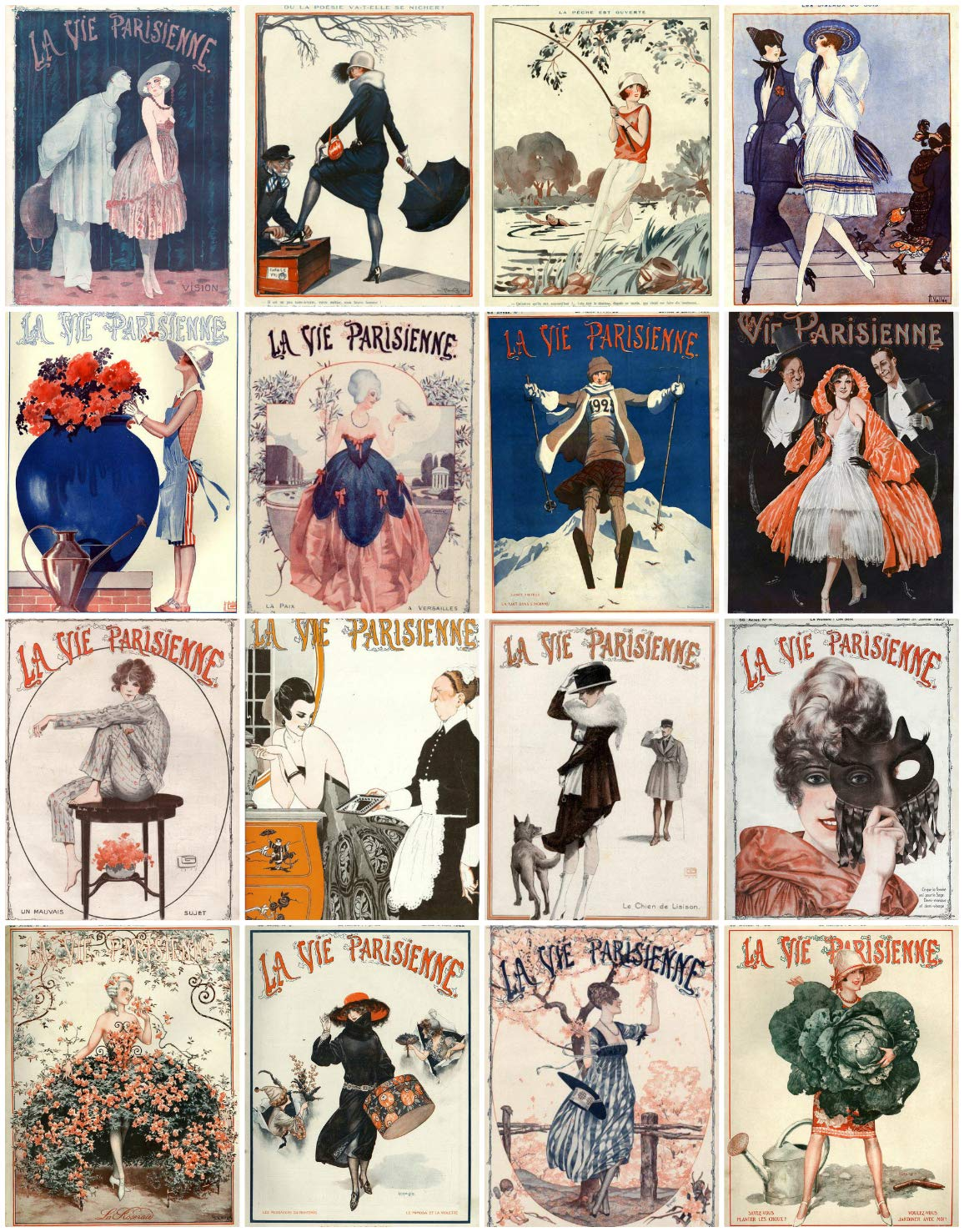 Labels Vintage Printed Art DecoLa Vie Parisienne Reproduction Magazine Covers Images Collage Sheet #109 Scrapbooking Crafts Card Making Decoupage