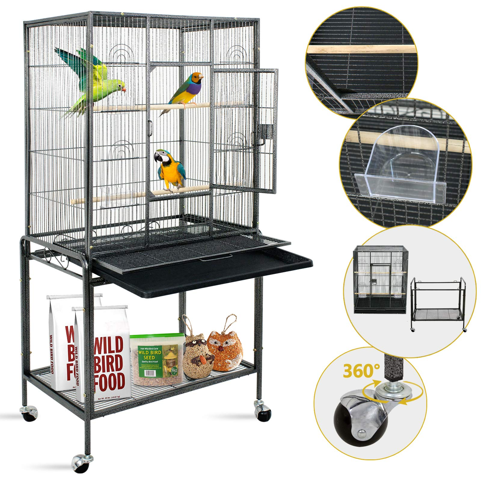 SUPER DEAL 53''/59.3''/63.5'' Rolling Bird Cage Large Wrought Iron Cage for Cockatiel Sun Conure Parakeet Finch Budgie Lovebird Canary Medium Pet House with Rolling Stand & Storage Shelf by SUPER DEAL