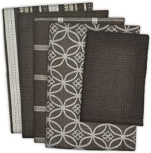 DII 100% Cotton, Ultra Absorbent, Oversized, Washing, Drying, Basic Everyday Kitchen Dishtowel 18 x 28 & Dishcloth 13 x 13, Set of 5 - Dark Brown