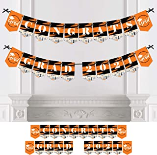product image for Big Dot of Happiness Orange Grad - Best is Yet to Come - Orange Graduation Party Bunting Banner - Party Decorations - Congrats Grad 2021