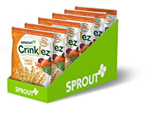 Sprout Foods Inc Sprout Organic Baby Food Toddler Snacks Crinklez, Pumpkin Carrot, 1.48 Oz Bag (Pack Of 6), Pumpkin Carrot, 6Count (Pack Of 6)