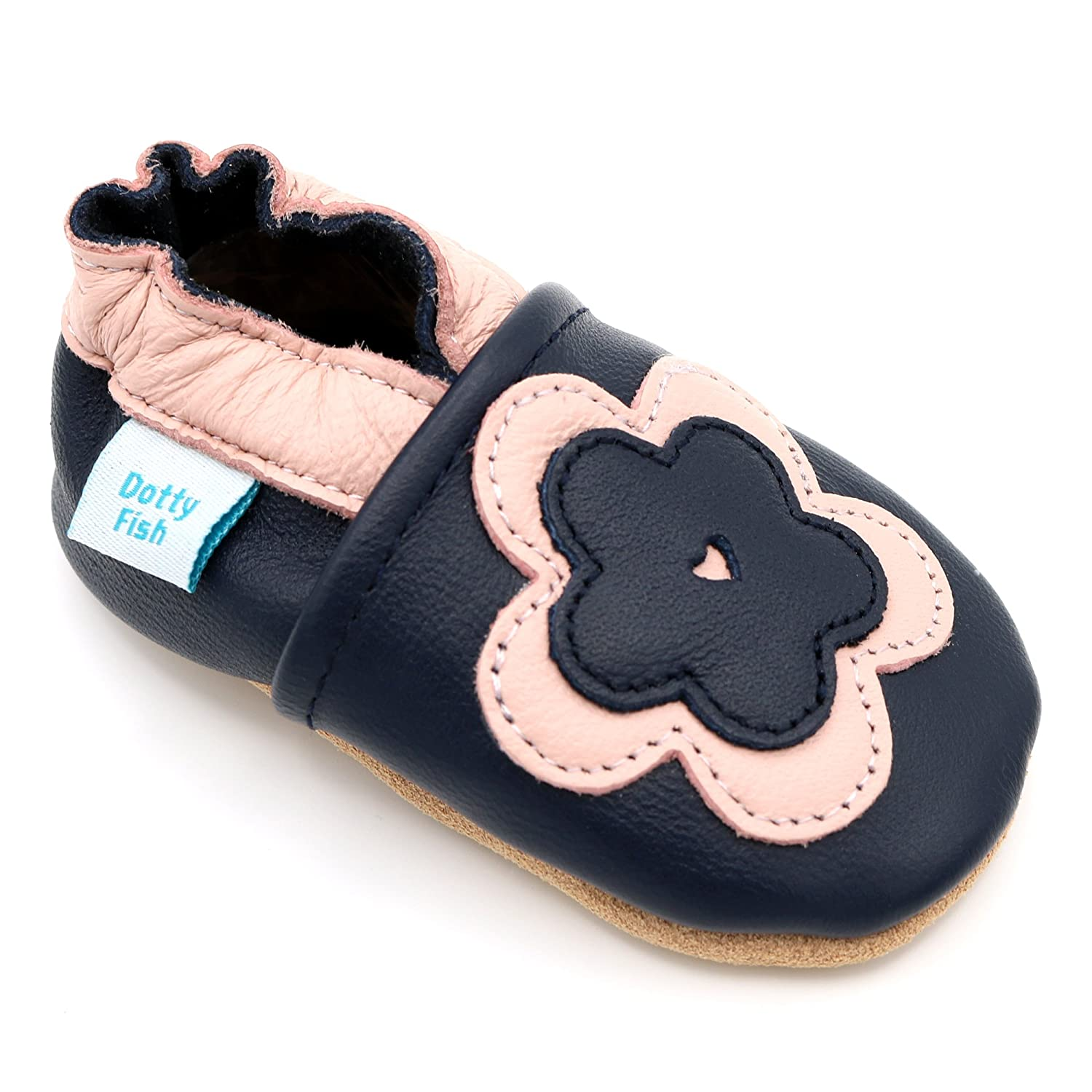 f2d0bababb14 Amazon.com | Dotty Fish Soft Leather Infant and Toddler Shoes for Girls. |  Slippers