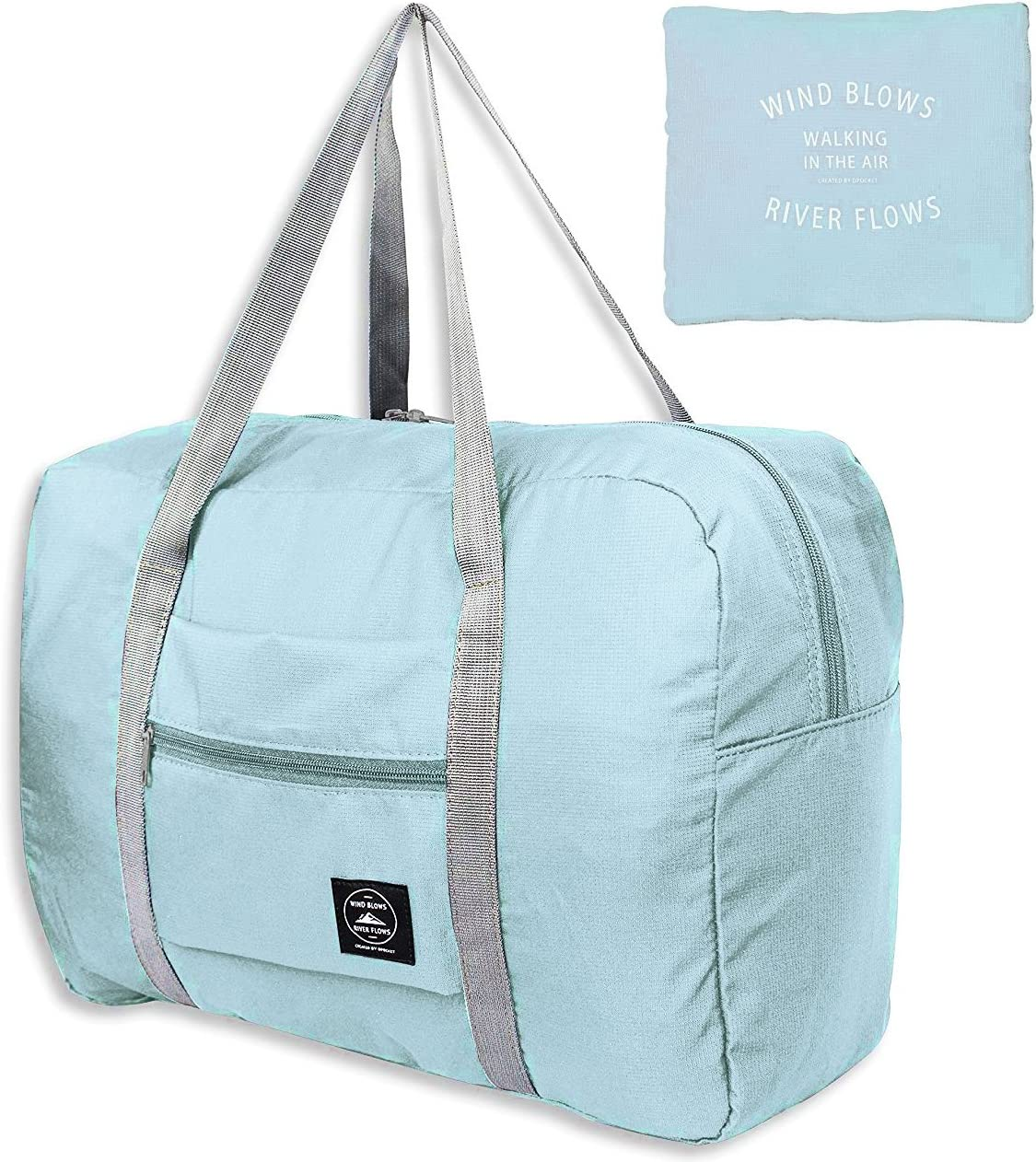 Unova Folding Travel Duffel Bag Packable Light Nylon Water Resistant Tote Weekend Getaway Overnight Carry-on Shoulder (Mint Green)