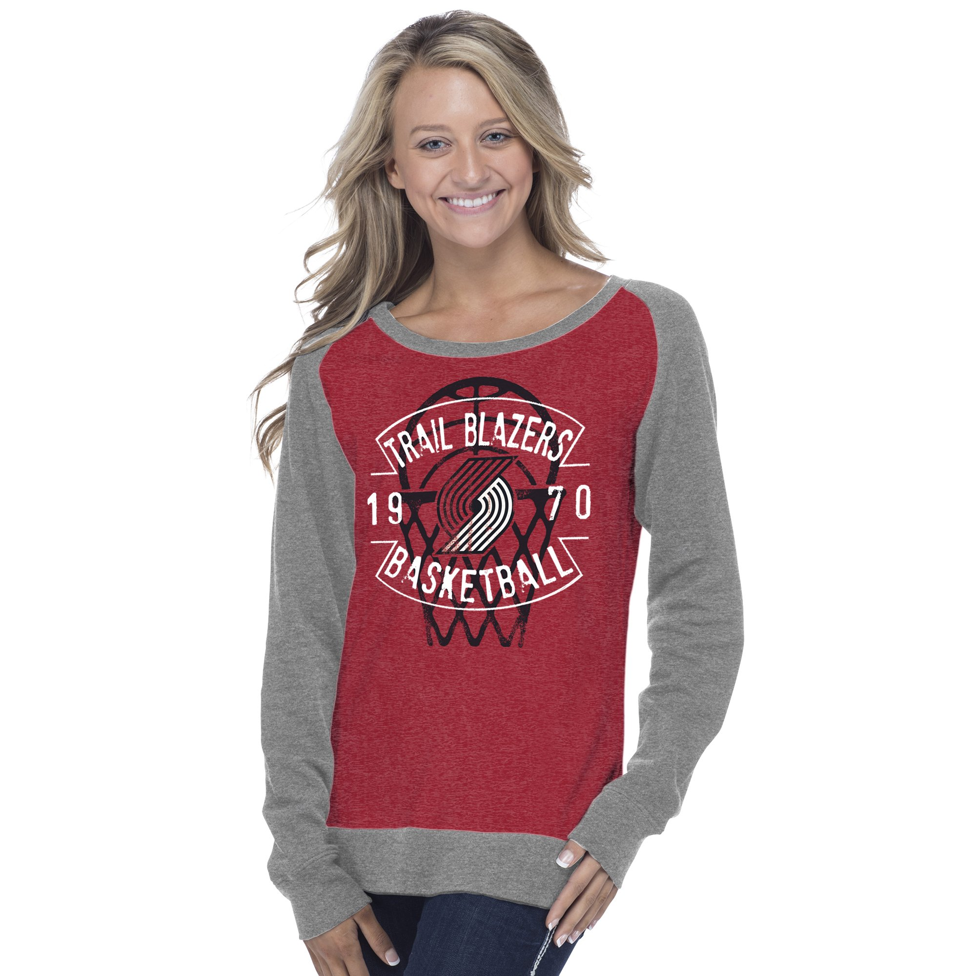 Creative Apparel Concepts NBA Portland Trail Blazers Adult Women NBA Women's Super Soft Long sleeve Pullover Sweatshirt, X-Large, Heather Red/Medium Grey
