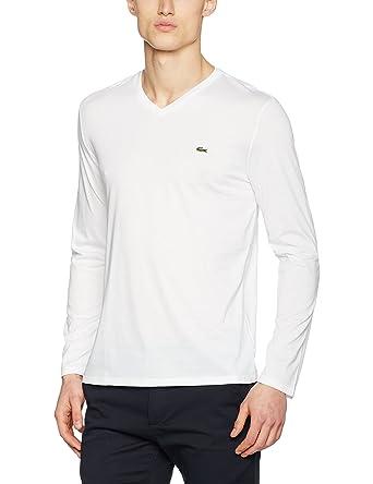 9abaa963e12 Lacoste - T-shirt Homme - Blanc (White) - Medium (Taille Fabricant   4)   Amazon.fr  Vêtements et accessoires