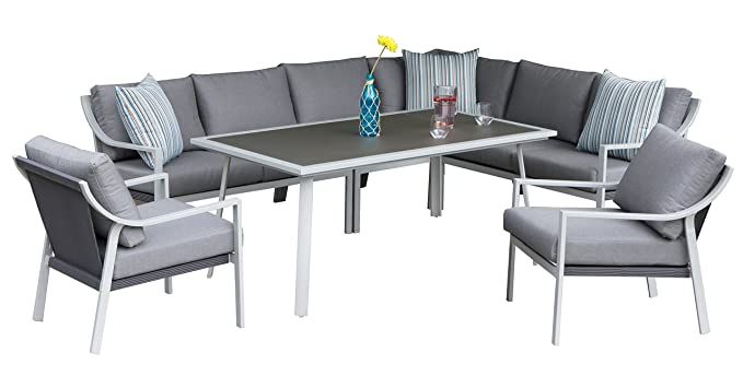 Amazon.de: Aluminium Garten Sitzgruppe Essgruppe mit Eckbank Tisch ...