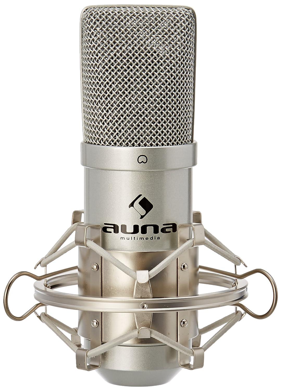 auna MIC-900B microfono a condensatore (capsula elettrete di 16mm, cavo USB, staffa ragno inclusa, compatibile con Windows e Mac, filetto adattatore da 3/8'' a 5/8'') - argento Auna Multimedia HK-Mic-900-S