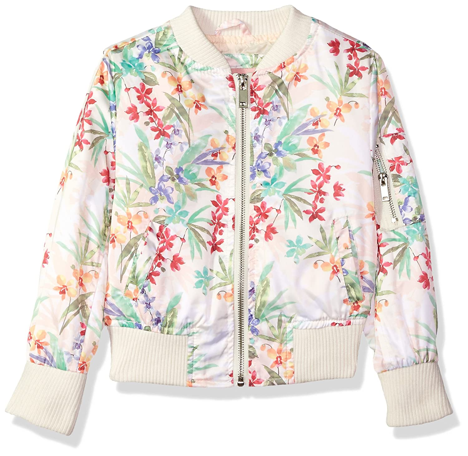 Urban Republic Toddler Girls Floral Bomber Jacket Ivory 2T