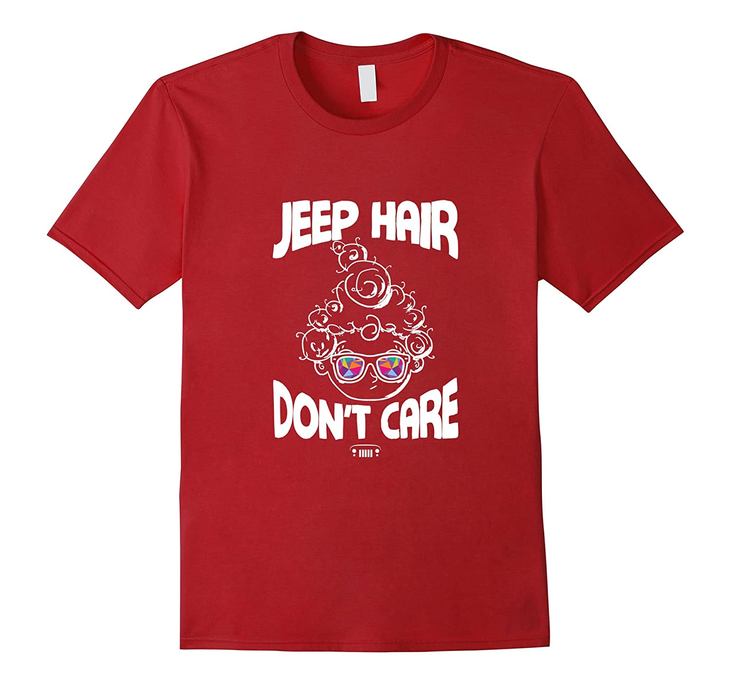 Jeep Hair Dont Care Funny Ugly Lady Wig Sunglasses T-Shirt-RT