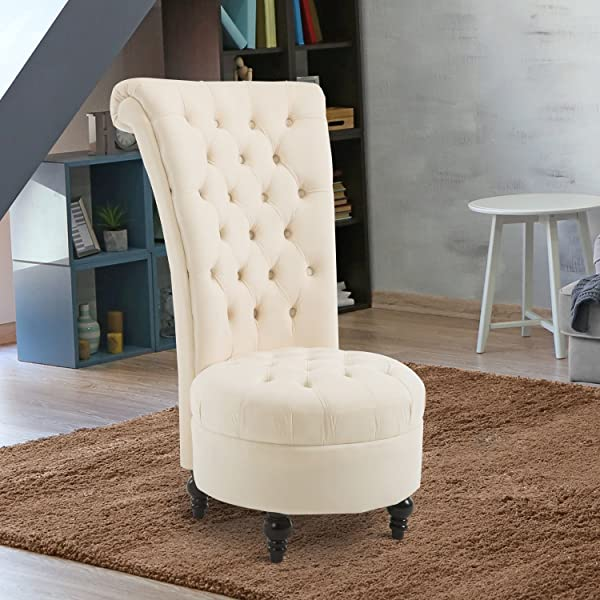 HomCom Elegant Royal High Back Velvet Tufted Accent Ottoman Chair - Cream White