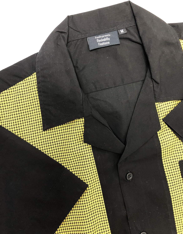 Rockabilly Fashions - Camisa de bolos para hombre, estilo retro, talla M-3XL, color amarillo y negro Negro y amarillo. M: Amazon.es: Ropa y accesorios