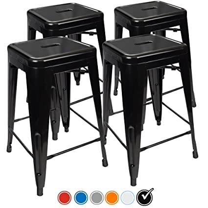 UrbanMod 24 Inch Bar Stools for Kitchen Counter Height, Indoor Outdoor  Metal, Set of 4, Black