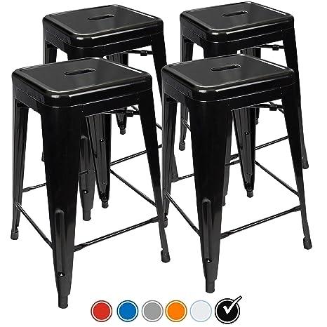Enjoyable Urbanmod 24 Inch Bar Stools For Kitchen Counter Height Indoor Outdoor Metal Set Of 4 Black Inzonedesignstudio Interior Chair Design Inzonedesignstudiocom
