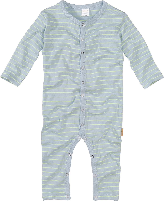 WELLYOU, Pijamas, Pijamas para niños y niñas, una Pieza de Manga Larga, niños pequeños, Azul Claro con Rayas Amarillo neón. 100% algodón. Tallas ...