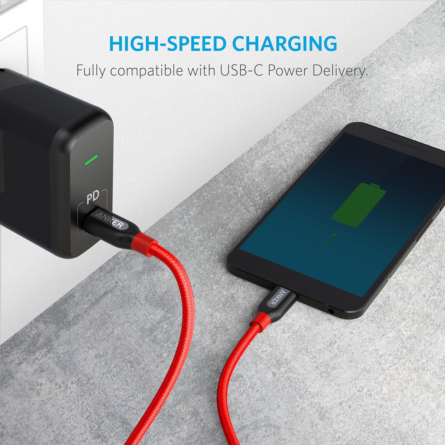 Anker Powerline+ C to C 2.0 Cable Google Pixel High Durability for USB Type-C Devices Including Samsung Galaxy Note 8 S8 S8+ S9 Nexus 6P MacBook and More 6ft Huawei Matebook