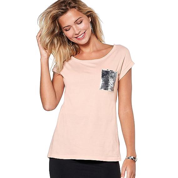 VENCA Camiseta Escote Redondeado y Manga Corta by Vencastyle, Rosa Nude, XL: Amazon.es: Ropa y accesorios