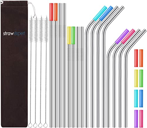 StrawExpert  Reusable Stainless Steel Straws with Travel Case Cleaning Brush Silicone Tips