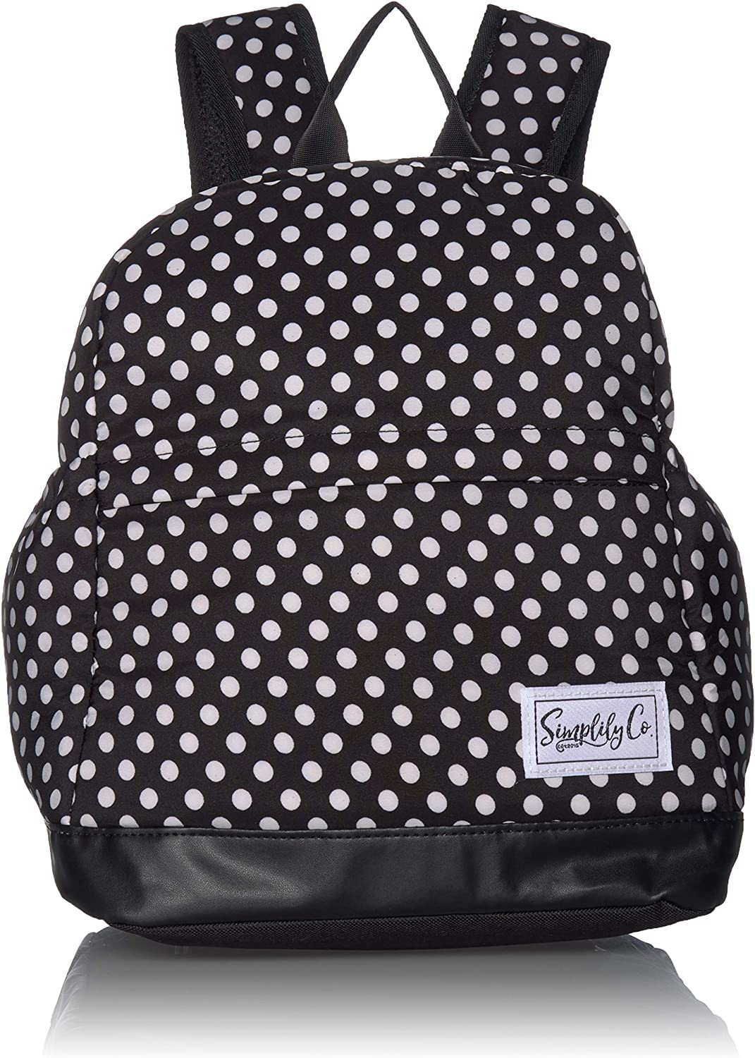 Insulated Mini Backpack Lunch Bag w/Padded Straps & Drink Side Pockets (Black & White Dots)