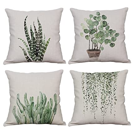 Amazon.com: Acelive 18 x 18 Inches Set Of 4 Green Plant ...