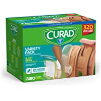 Curad Bulk Variety Pack Assorted Bandages, Flex-Fabric, Waterproof, Plastic, Knuckle, Heavy Duty Bandages (320Count)