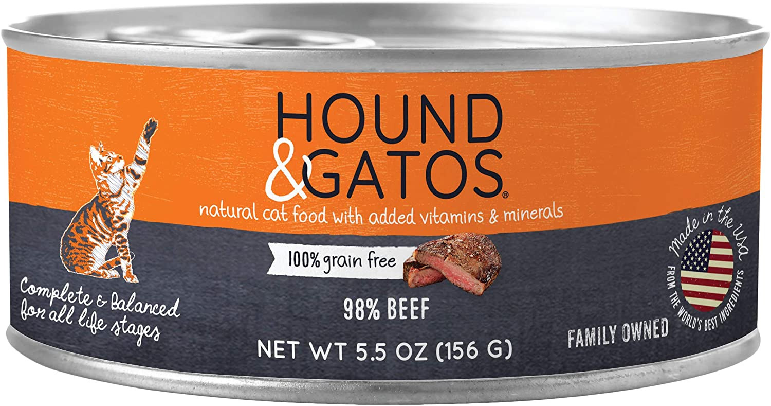 Hound & Gatos Natural Wet Cat Food, 98% Meat, Fish or Poultry Recipes, For All Life Stages, Made in the USA