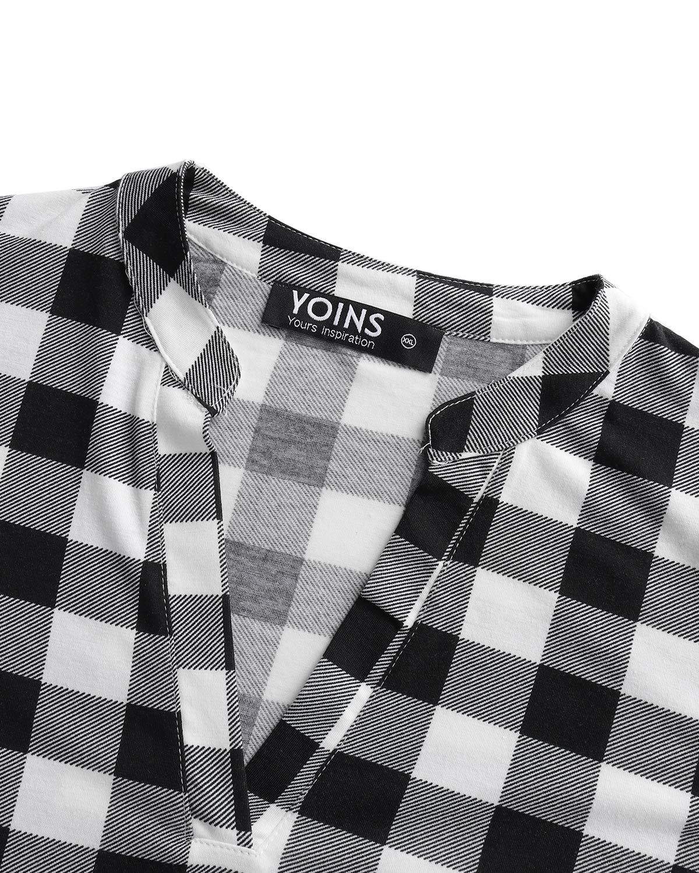YOINS Dam långärmad V-ringad tröjor pläd vardagliga toppar kolla klassiska blusar för damer A-vit
