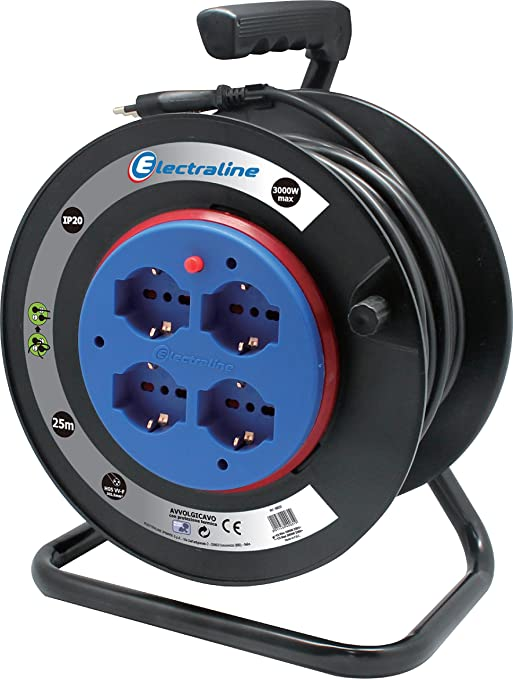 47 opinioni per Electraline 49031 prolunga elettrica con avvolgicavo a tamburo fisso 25 mt 4