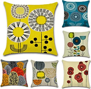 CHARMKING Throw Pillow Covers 18x18 Set of 6,Decorative Pillow Covers for Bedroom,Couch,Sofa & Car Cushion,Outdoor Pillow Covers,Cotton Linen Lumbar Pillow Cases with Art Flowers,Creative Gifts,Yellow