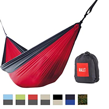 Medium image of rallt camping hammock   ripstop parachute nylon portable  u0026 lightweight includes hanging gear