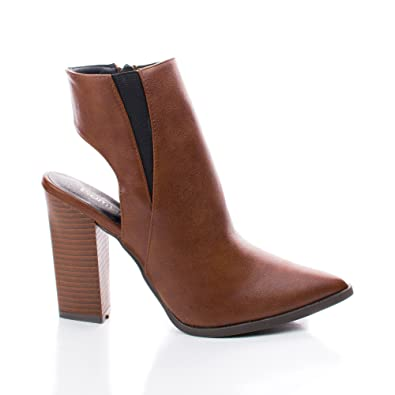 Pointy Toe Cut Out Back Triangle Stacked Chunky Heel Ankle Booties