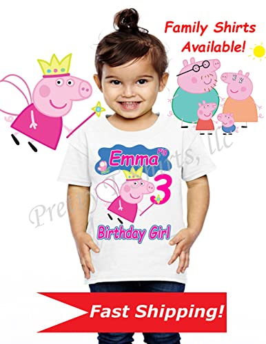 Peppa Pig Birthday Shirt, Family Shirts, Peppa Birthday Shirt, Peppa Pig Party Favor, Add Any Name And Age, Peppa Pig, Visit Our Shop!! by Amazon