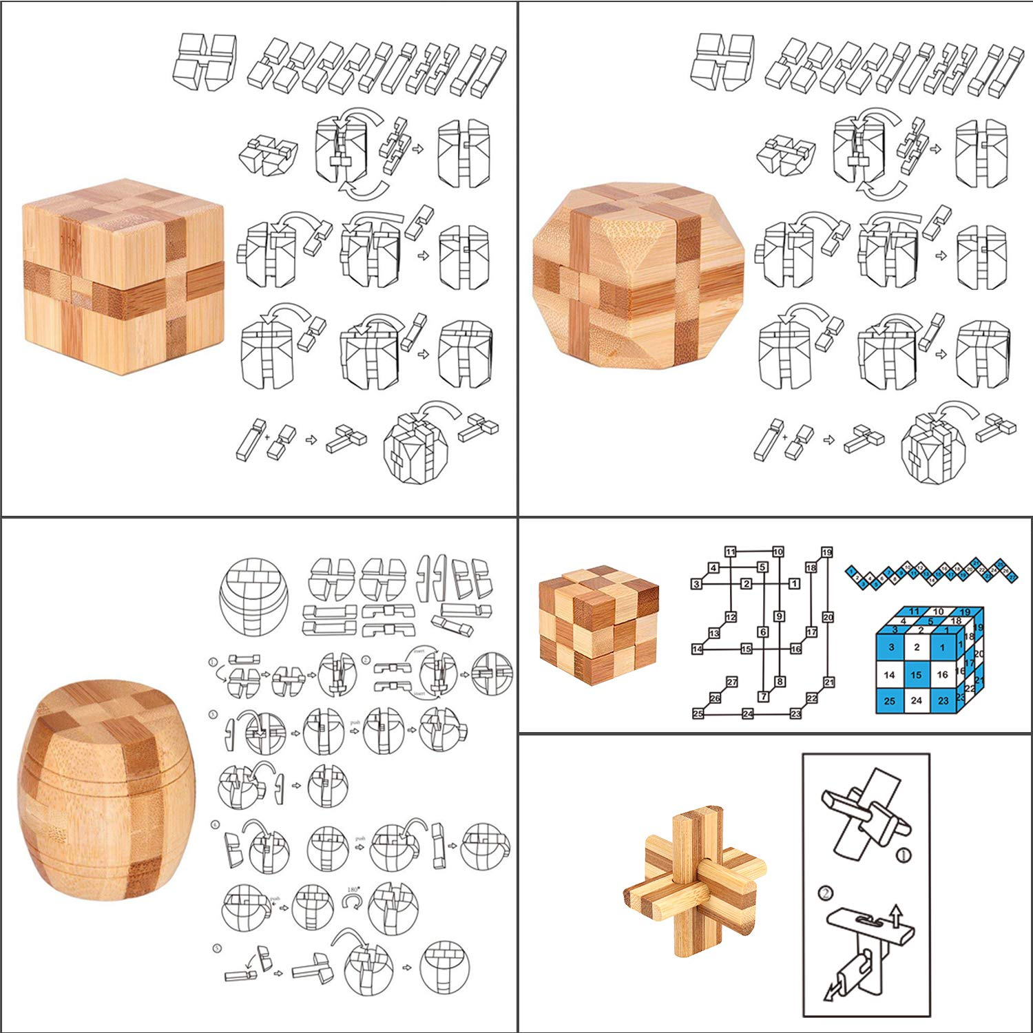 Once ZY Time Puzzles Wooden Puzzles Games Burr Puzzles Jigsaw Lock 3D  Handmade Brain Teaser Intellectual Educational Toys for Kids Adults Mini  Size
