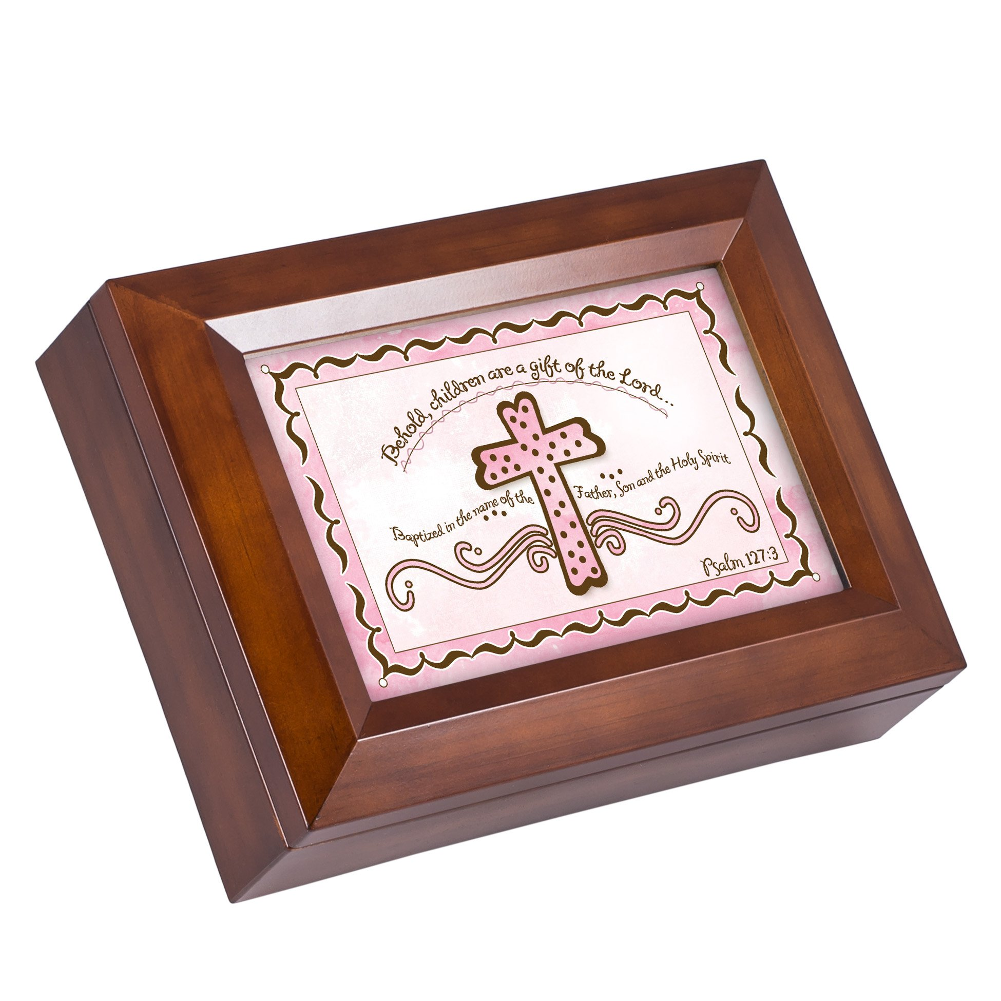 Cottage Garden Baby Girl Baptism Cross Psalm 127:3 Wood Finish Jewelry Music Box - Plays Tune You Are My Sunshine by Cottage Garden (Image #2)